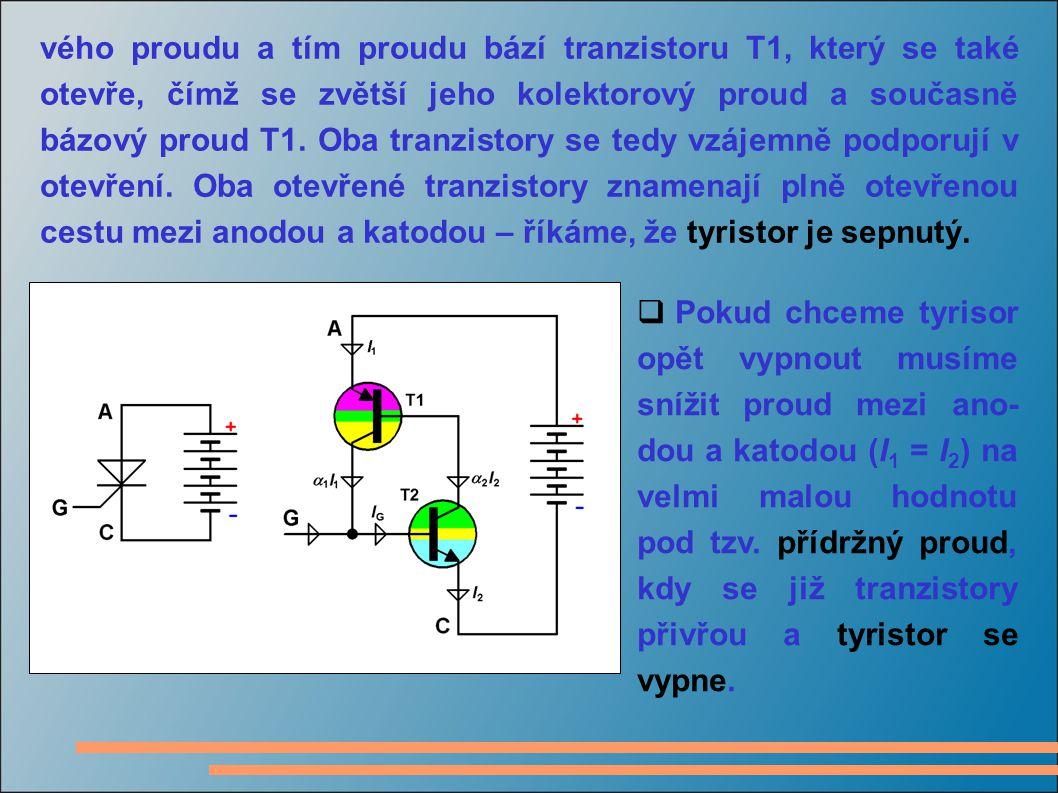 vého proudu a tím proudu bází tranzistoru T1, který se také otevře, čímž se zvětší jeho kolektorový proud a současně bázový proud T1. Oba tranzistory se tedy vzájemně podporují v otevření. Oba otevřené tranzistory znamenají plně otevřenou cestu mezi anodou a katodou – říkáme, že tyristor je sepnutý.