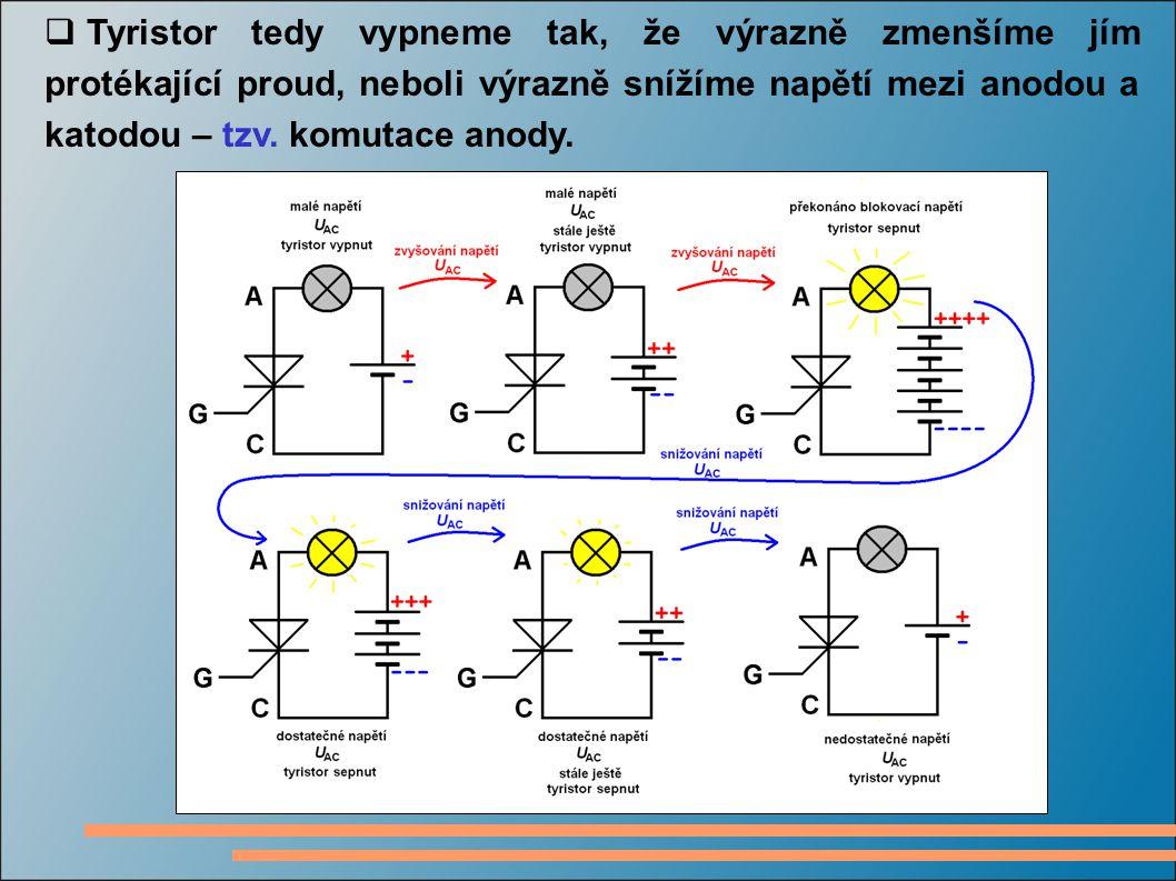 Tyristor tedy vypneme tak, že výrazně zmenšíme jím protékající proud, neboli výrazně snížíme napětí mezi anodou a katodou – tzv.