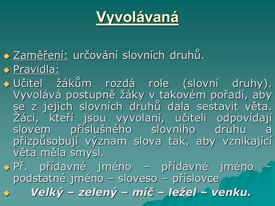 Vyvolávaná Zaměření: určování slovních druhů. Pravidla: