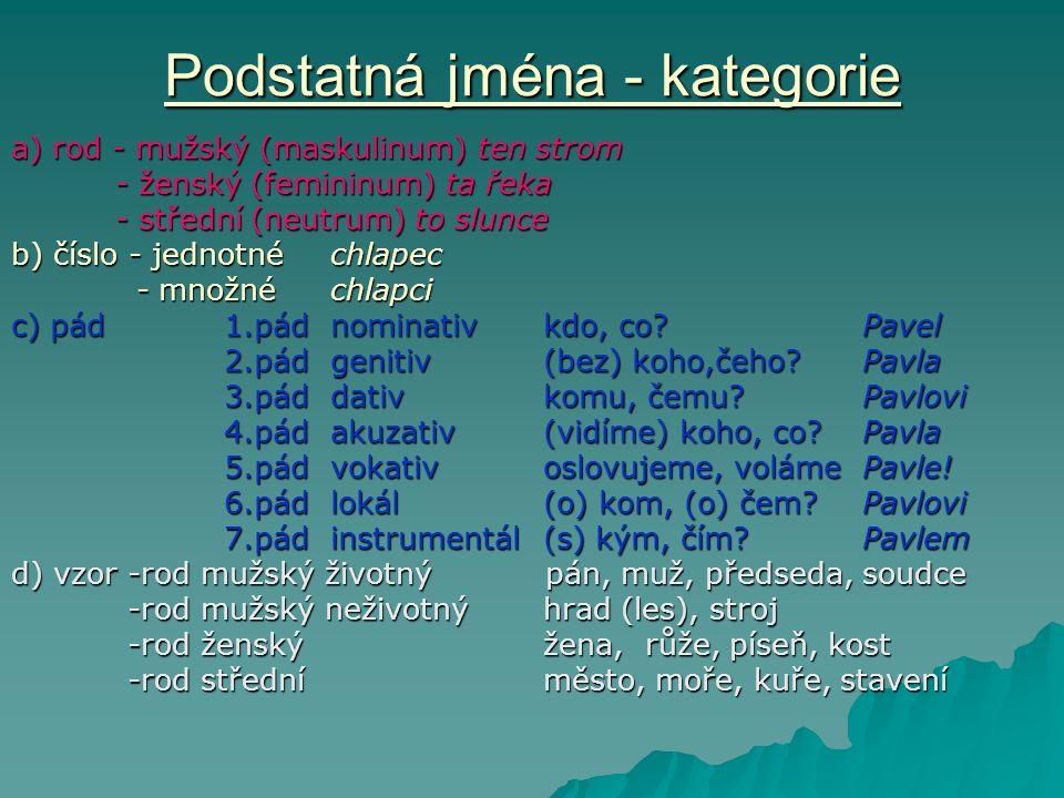 Podstatná jména - kategorie