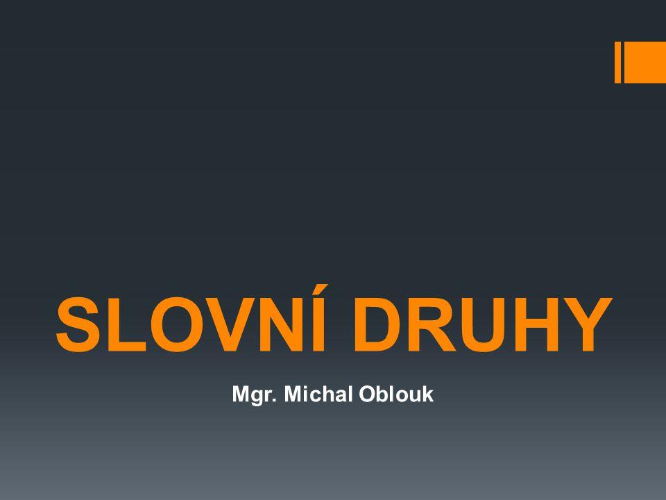 SLOVNÍ DRUHY Mgr. Michal Oblouk