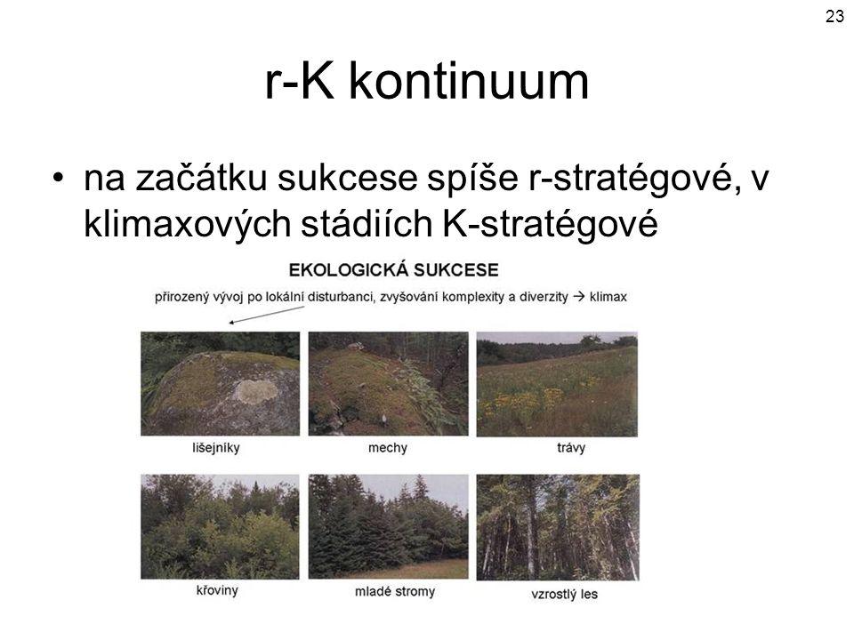 r-K kontinuum na začátku sukcese spíše r-stratégové, v klimaxových stádiích K-stratégové
