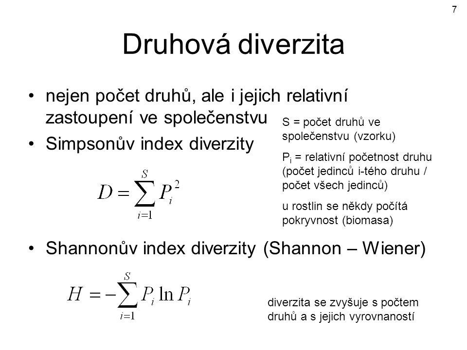 Druhová diverzita nejen počet druhů, ale i jejich relativní zastoupení ve společenstvu. Simpsonův index diverzity.