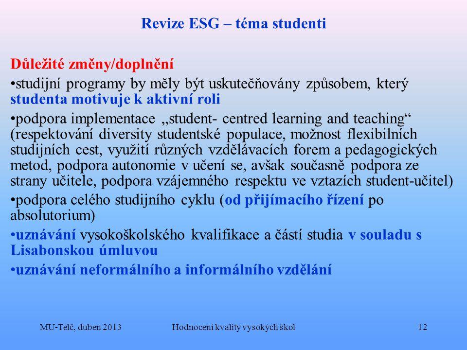 Revize ESG – téma studenti