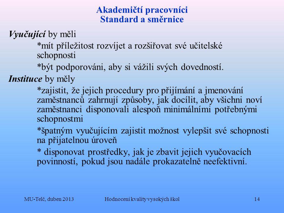 Akademičtí pracovníci Standard a směrnice