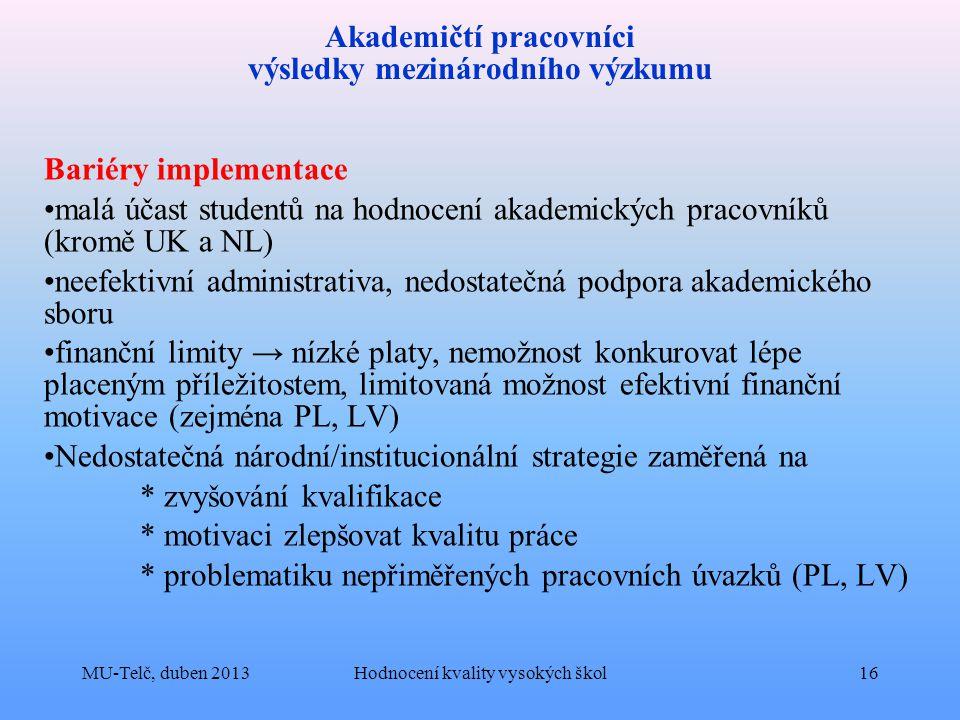 Akademičtí pracovníci výsledky mezinárodního výzkumu