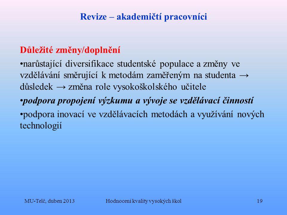 Revize – akademičtí pracovníci