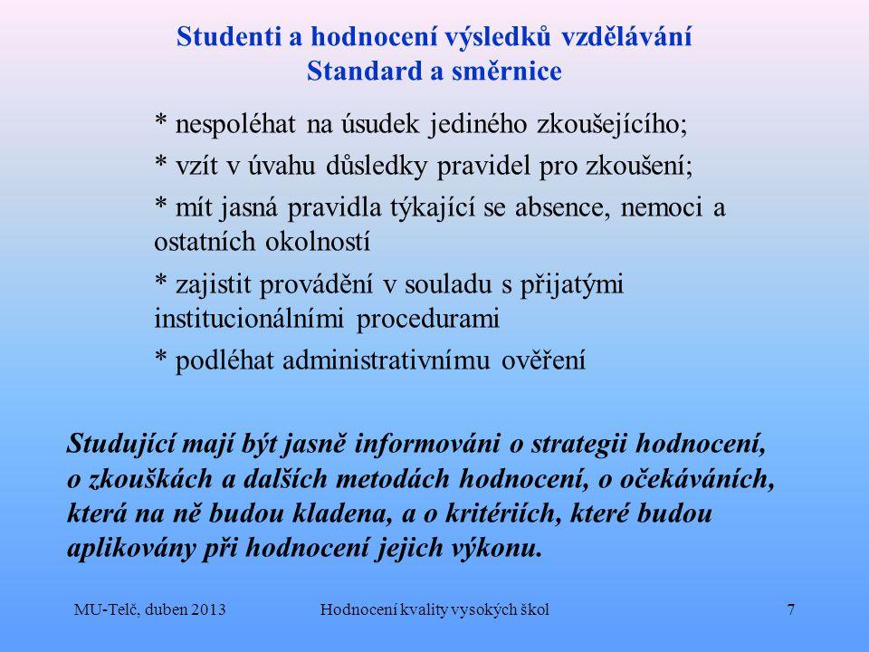 Studenti a hodnocení výsledků vzdělávání Standard a směrnice