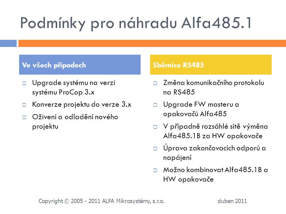 Podmínky pro náhradu Alfa485.1