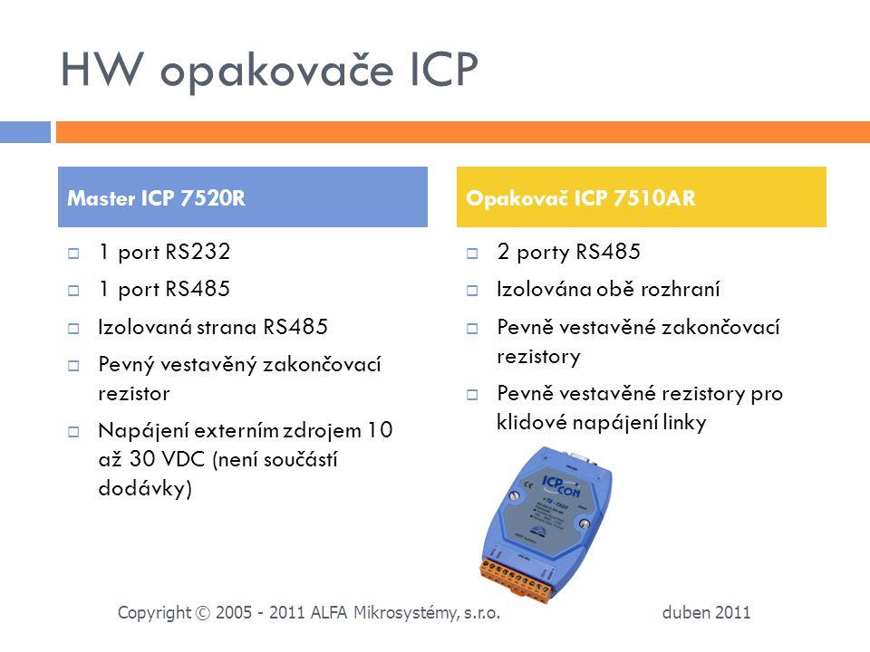 HW opakovače ICP Master ICP 7520R Opakovač ICP 7510AR 1 port RS232