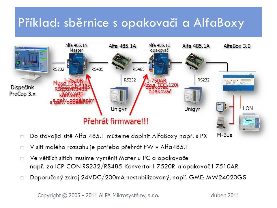 Příklad: sběrnice s opakovači a AlfaBoxy