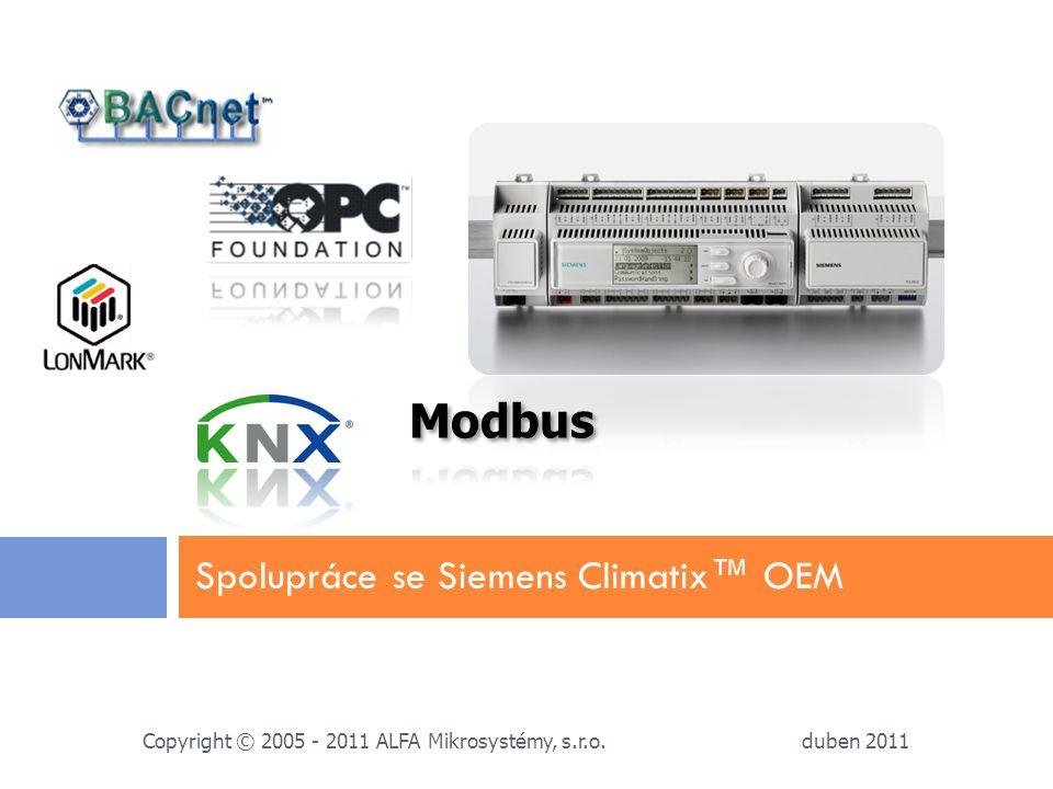 Spolupráce se Siemens Climatix™ OEM