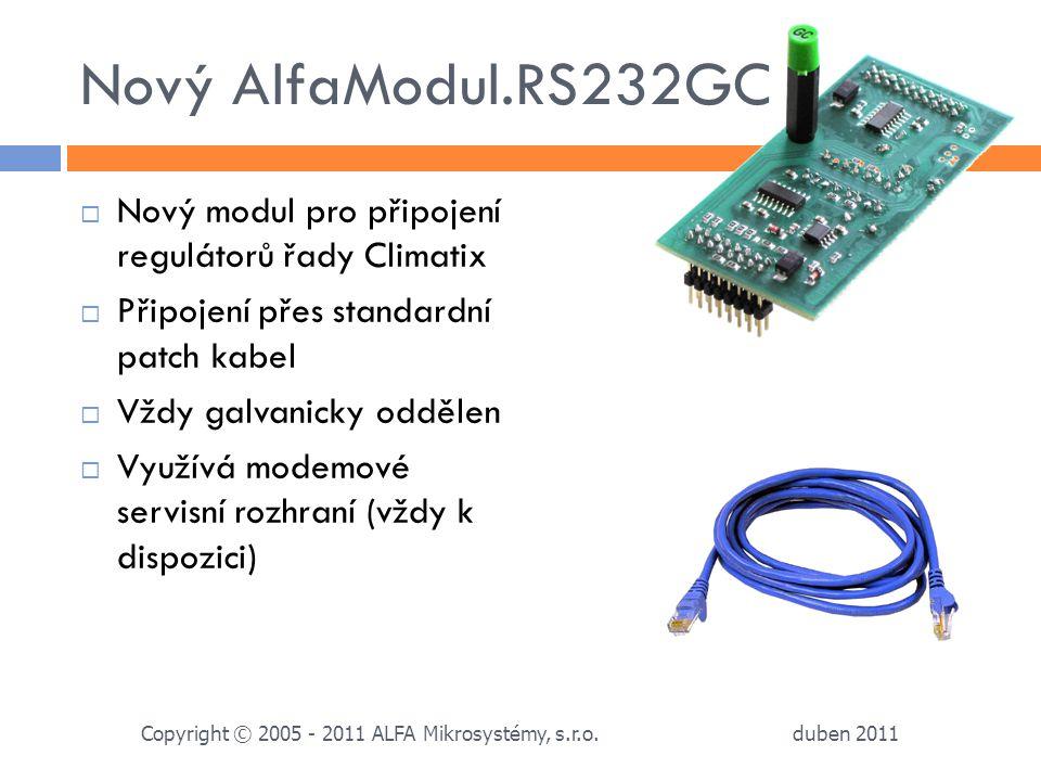 Nový AlfaModul.RS232GC Nový modul pro připojení regulátorů řady Climatix. Připojení přes standardní patch kabel.