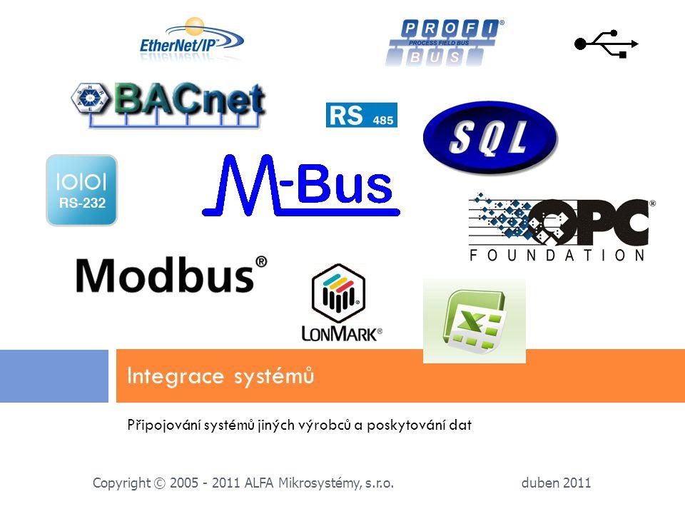 Integrace systémů Připojování systémů jiných výrobců a poskytování dat