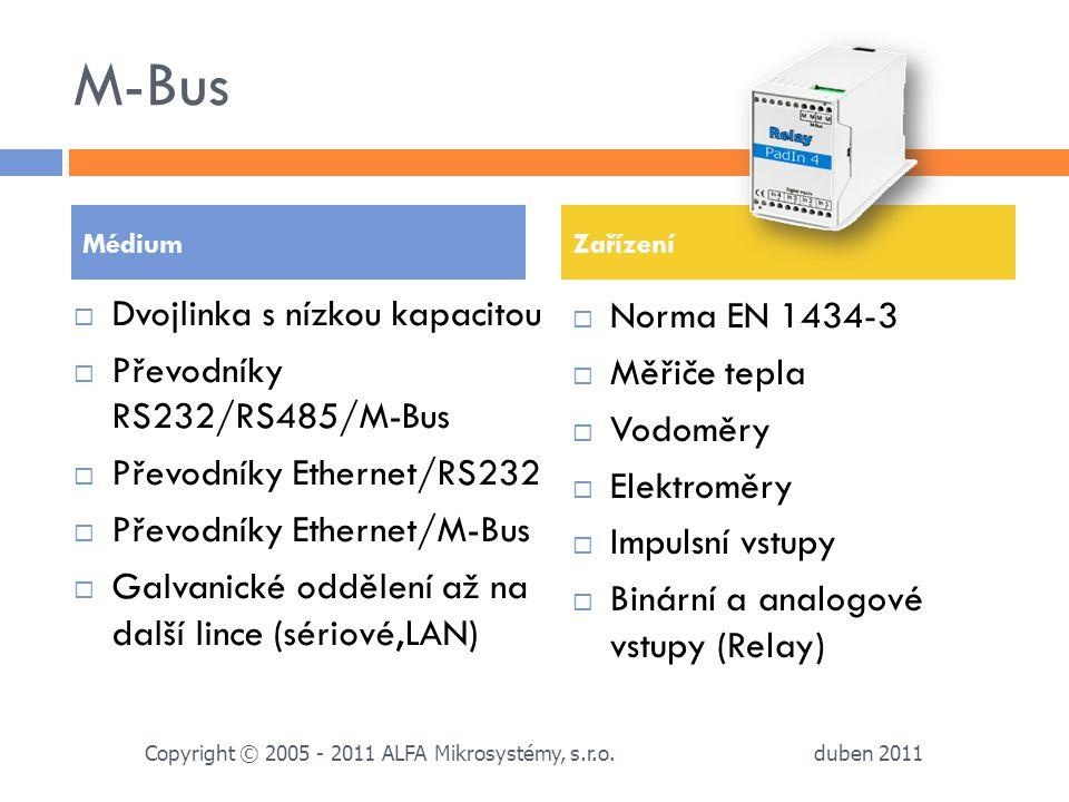 M-Bus Dvojlinka s nízkou kapacitou Norma EN 1434-3