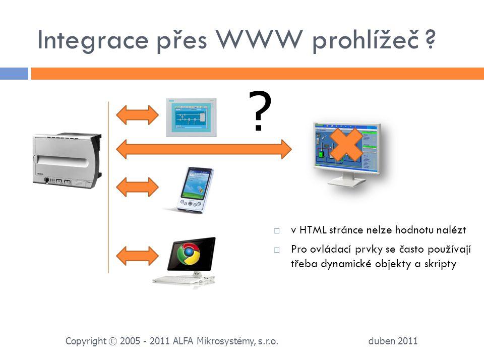Integrace přes WWW prohlížeč