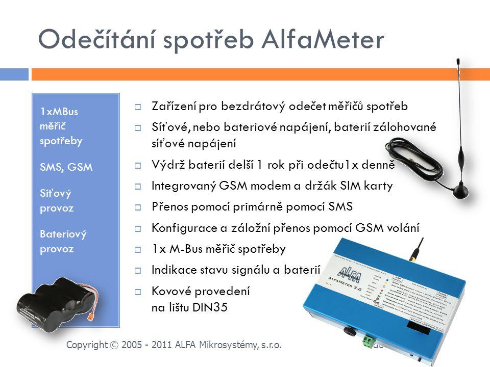Odečítání spotřeb AlfaMeter