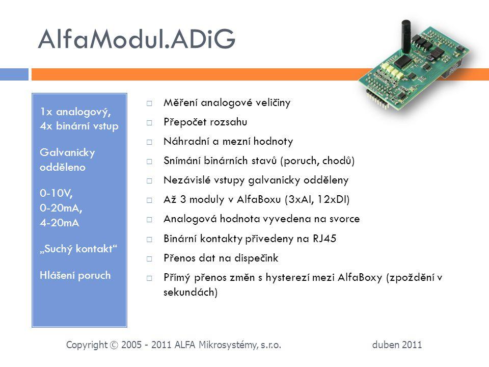 AlfaModul.ADiG 1x analogový, 4x binární vstup Galvanicky odděleno