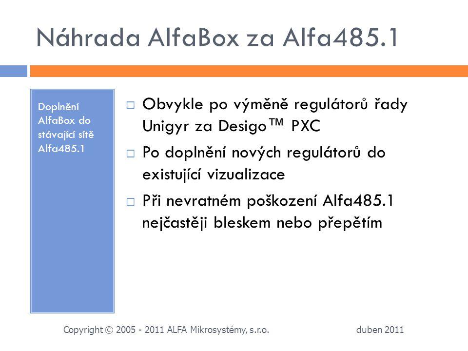 Náhrada AlfaBox za Alfa485.1