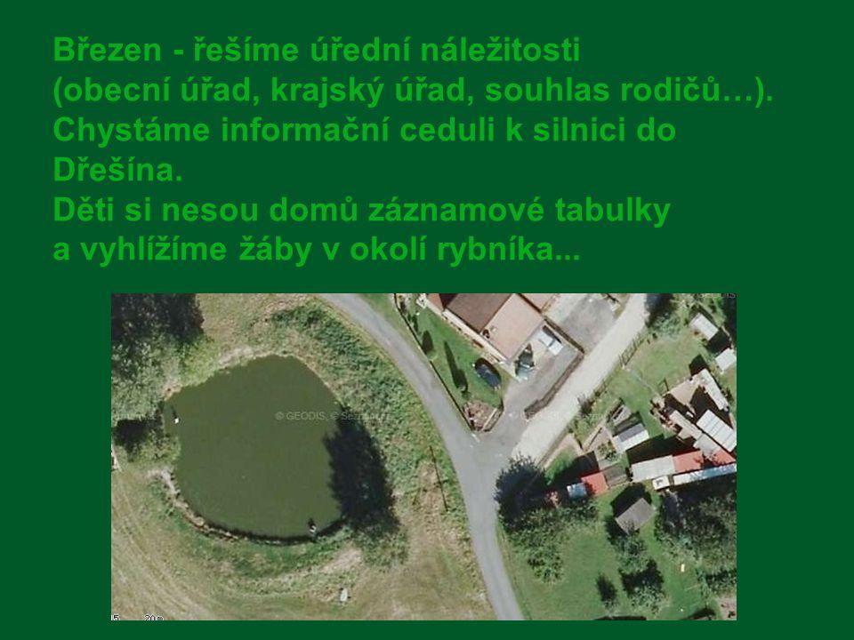 Březen - řešíme úřední náležitosti (obecní úřad, krajský úřad, souhlas rodičů…). Chystáme informační ceduli k silnici do Dřešína. Děti si nesou domů záznamové tabulky a vyhlížíme žáby v okolí rybníka...