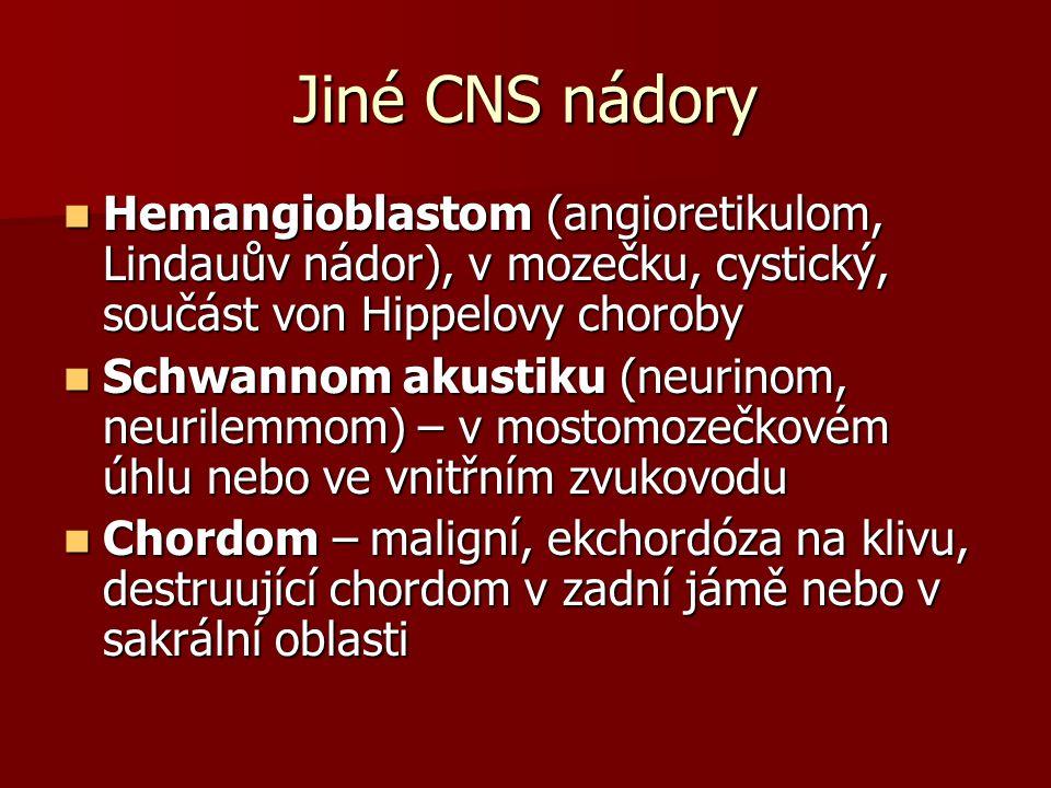Jiné CNS nádory Hemangioblastom (angioretikulom, Lindauův nádor), v mozečku, cystický, součást von Hippelovy choroby.