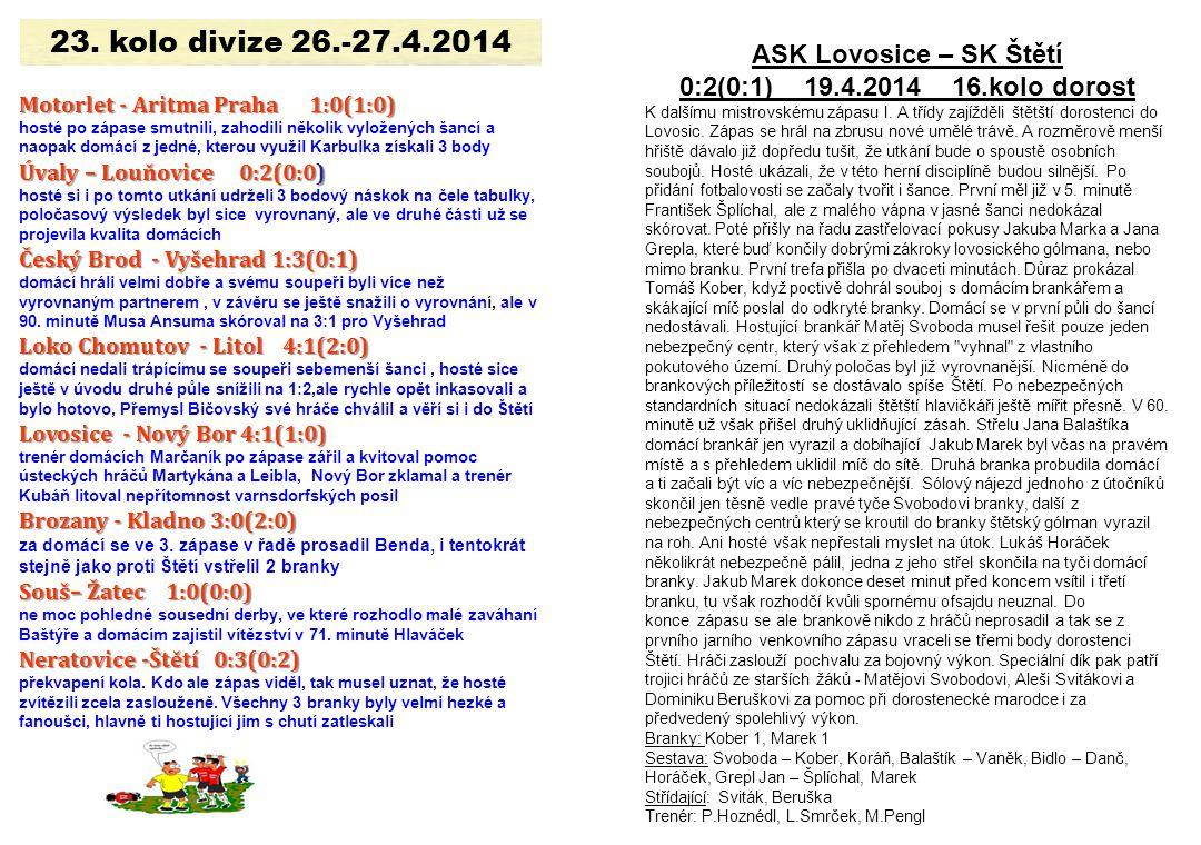 23. kolo divize 26.-27.4.2014 ASK Lovosice – SK Štětí