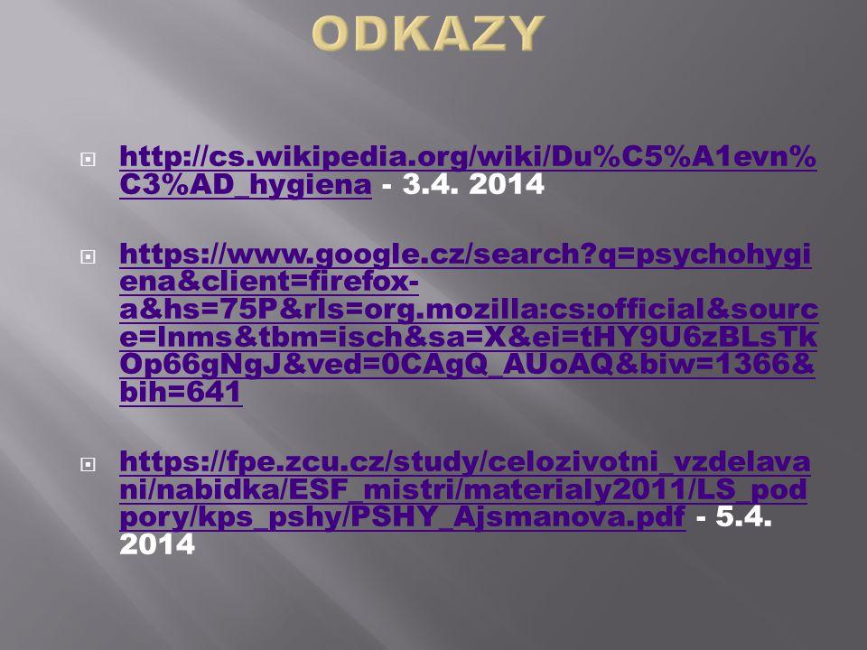 ODKAZY http://cs.wikipedia.org/wiki/Du%C5%A1evn%C3%AD_hygiena - 3.4. 2014.