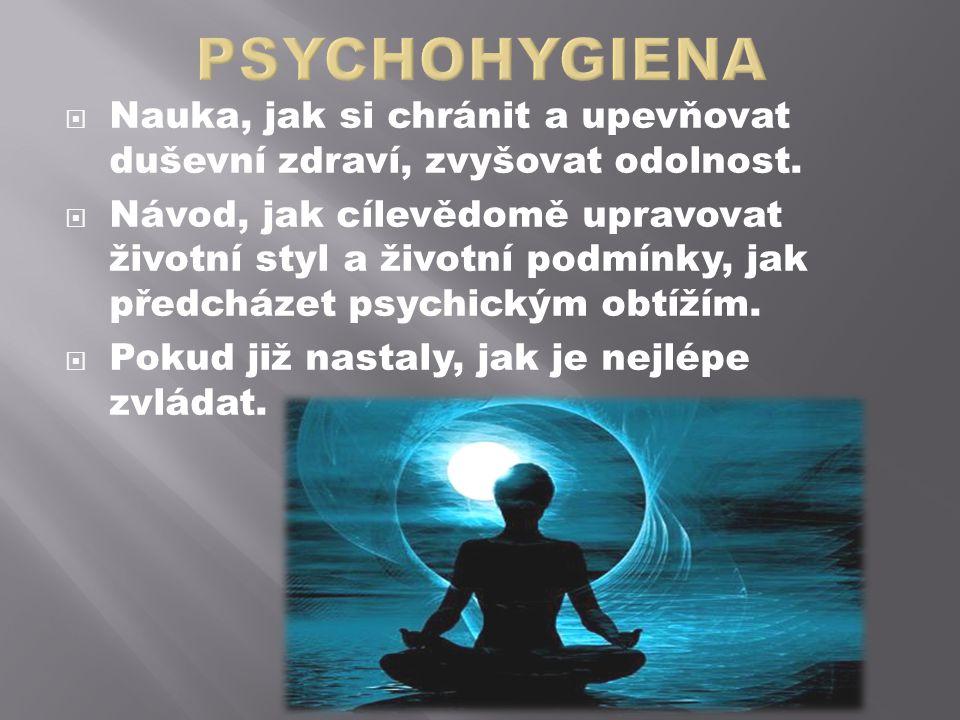 PSYCHOHYGIENA Nauka, jak si chránit a upevňovat duševní zdraví, zvyšovat odolnost.