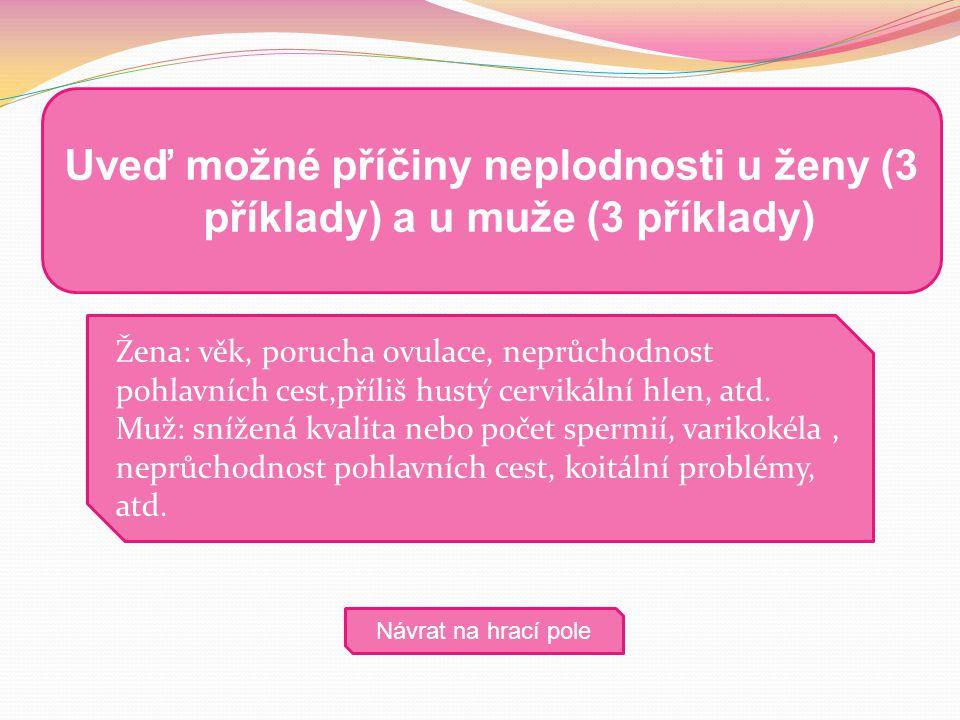 Uveď možné příčiny neplodnosti u ženy (3 příklady) a u muže (3 příklady)