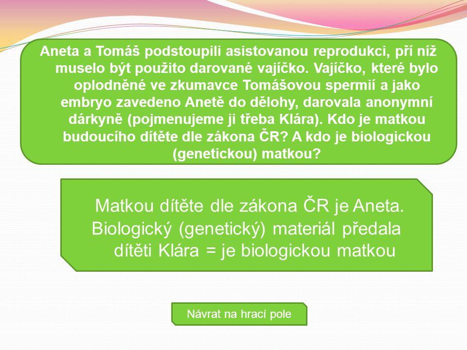 Matkou dítěte dle zákona ČR je Aneta.