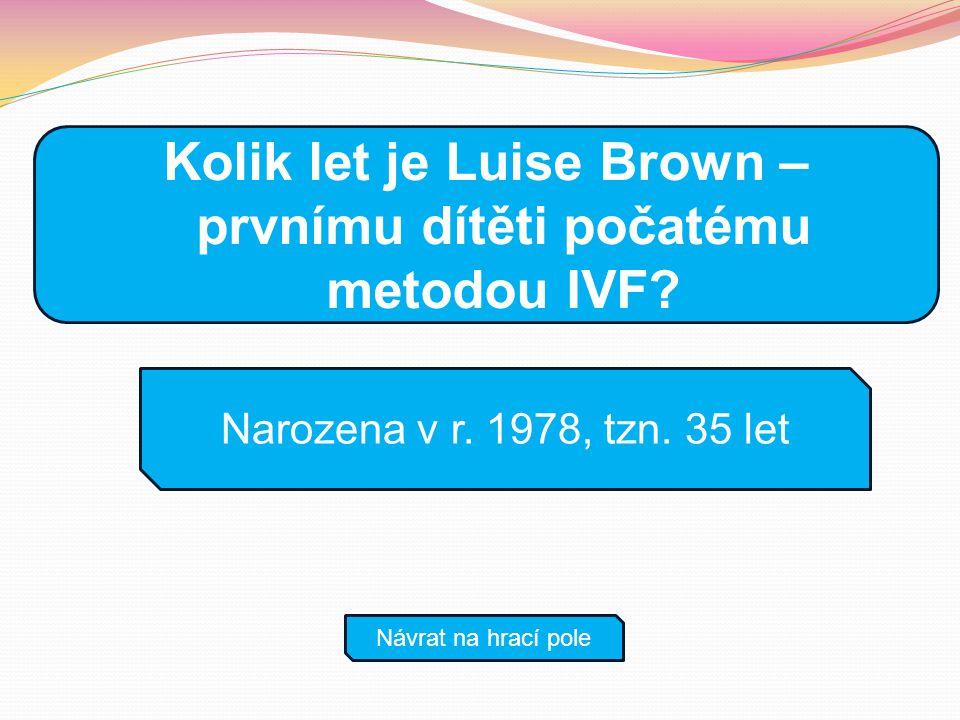 Kolik let je Luise Brown – prvnímu dítěti počatému metodou IVF