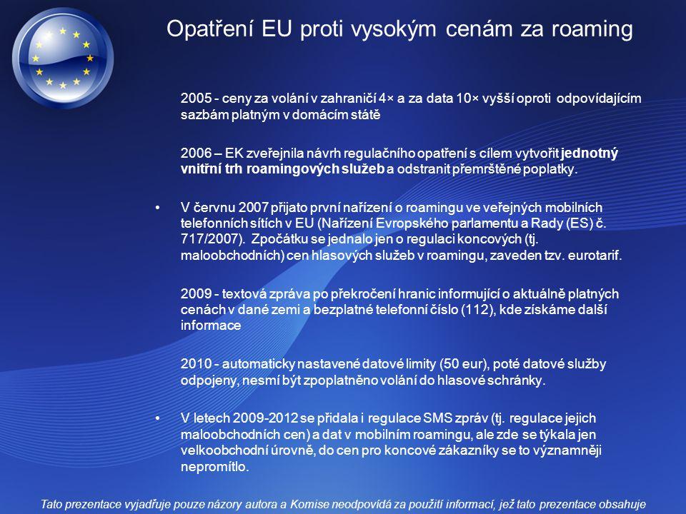 Opatření EU proti vysokým cenám za roaming
