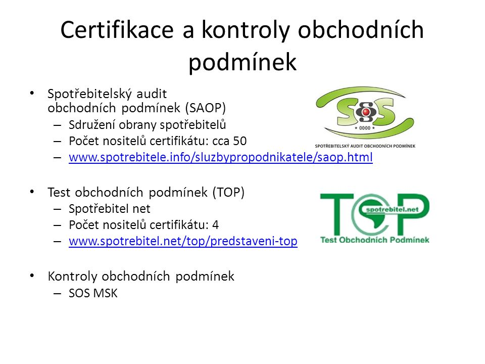 Certifikace a kontroly obchodních podmínek