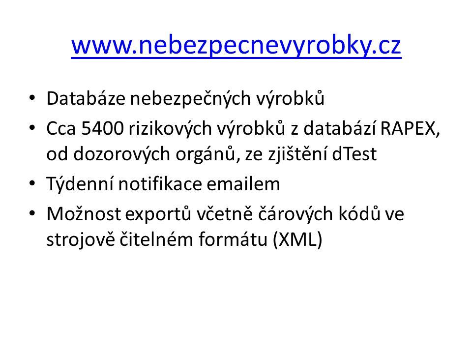 www.nebezpecnevyrobky.cz Databáze nebezpečných výrobků