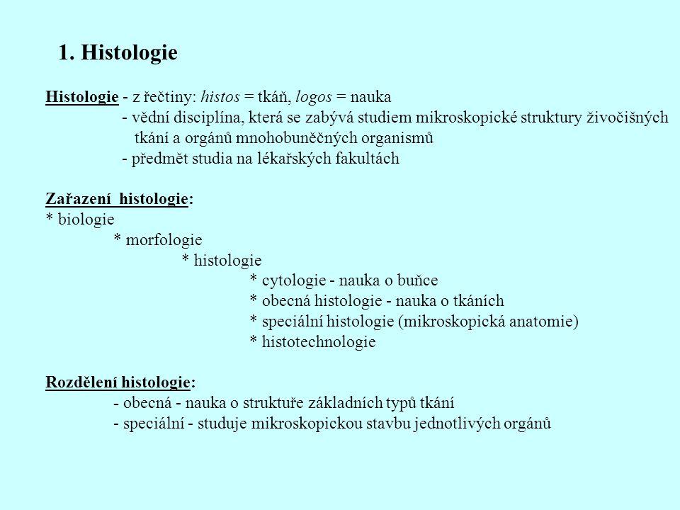 1. Histologie Histologie - z řečtiny: histos = tkáň, logos = nauka