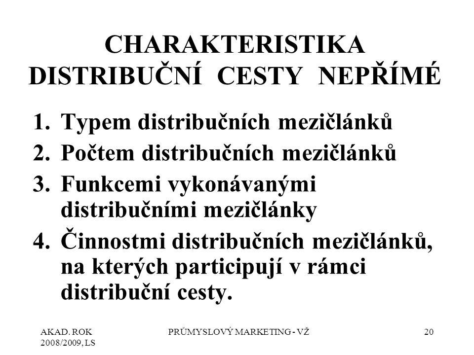 CHARAKTERISTIKA DISTRIBUČNÍ CESTY NEPŘÍMÉ