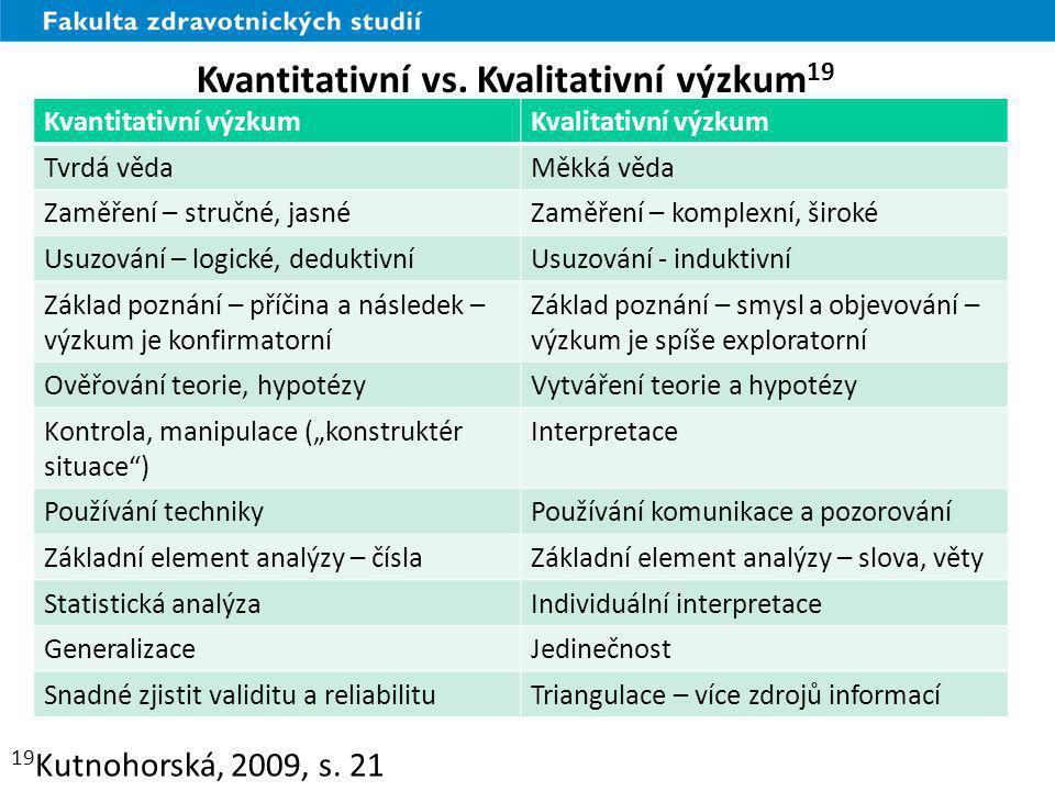 Kvantitativní vs. Kvalitativní výzkum19
