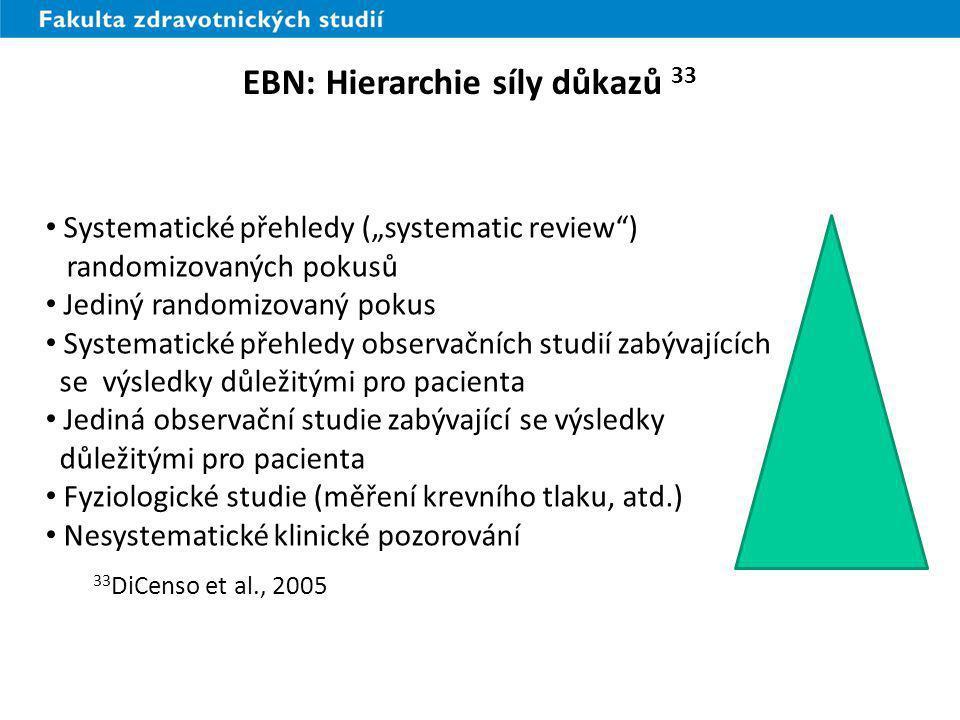 EBN: Hierarchie síly důkazů 33