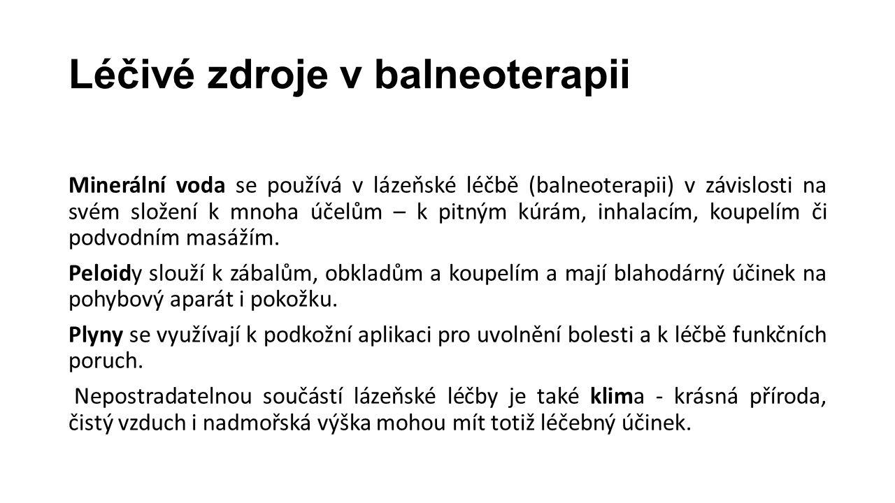 Léčivé zdroje v balneoterapii