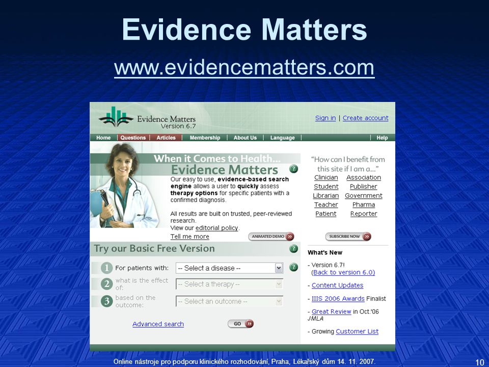 Evidence Matters www.evidencematters.com