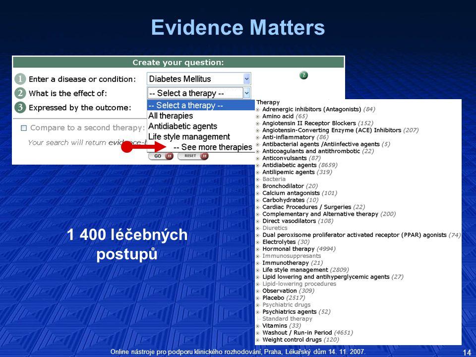 Evidence Matters 1 400 léčebných postupů