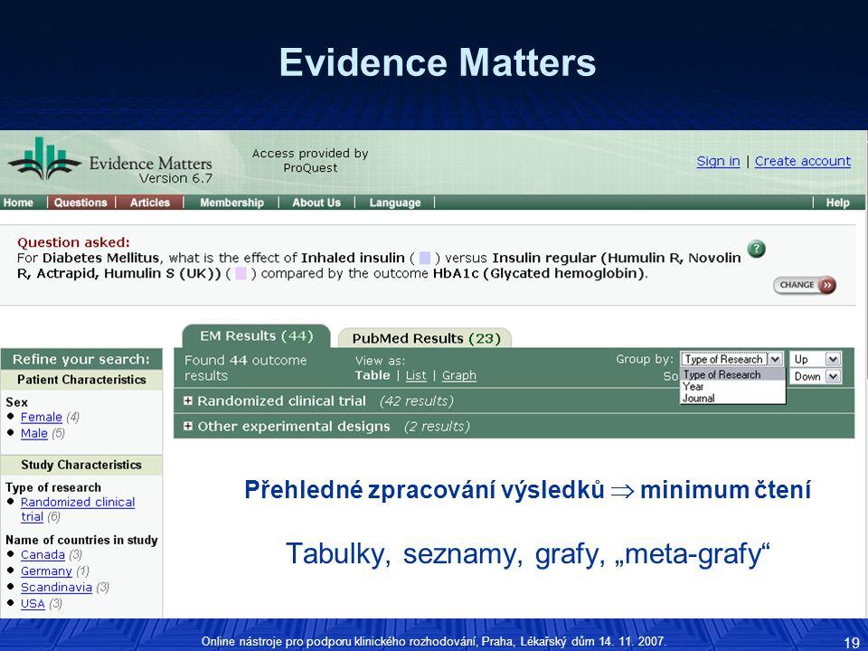 Přehledné zpracování výsledků  minimum čtení