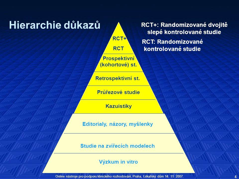 Hierarchie důkazů RCT+: Randomizované dvojitě slepé kontrolované studie. RCT+ RCT: Randomizované.