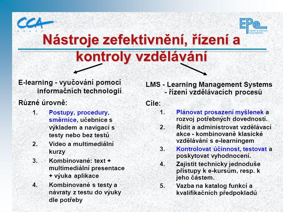 Nástroje zefektivnění, řízení a kontroly vzdělávání