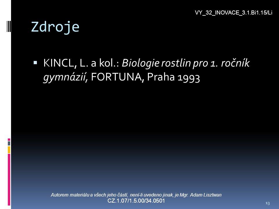 VY_32_INOVACE_3.1.Bi1.15/Li Zdroje. KINCL, L. a kol.: Biologie rostlin pro 1. ročník gymnázií, FORTUNA, Praha 1993.