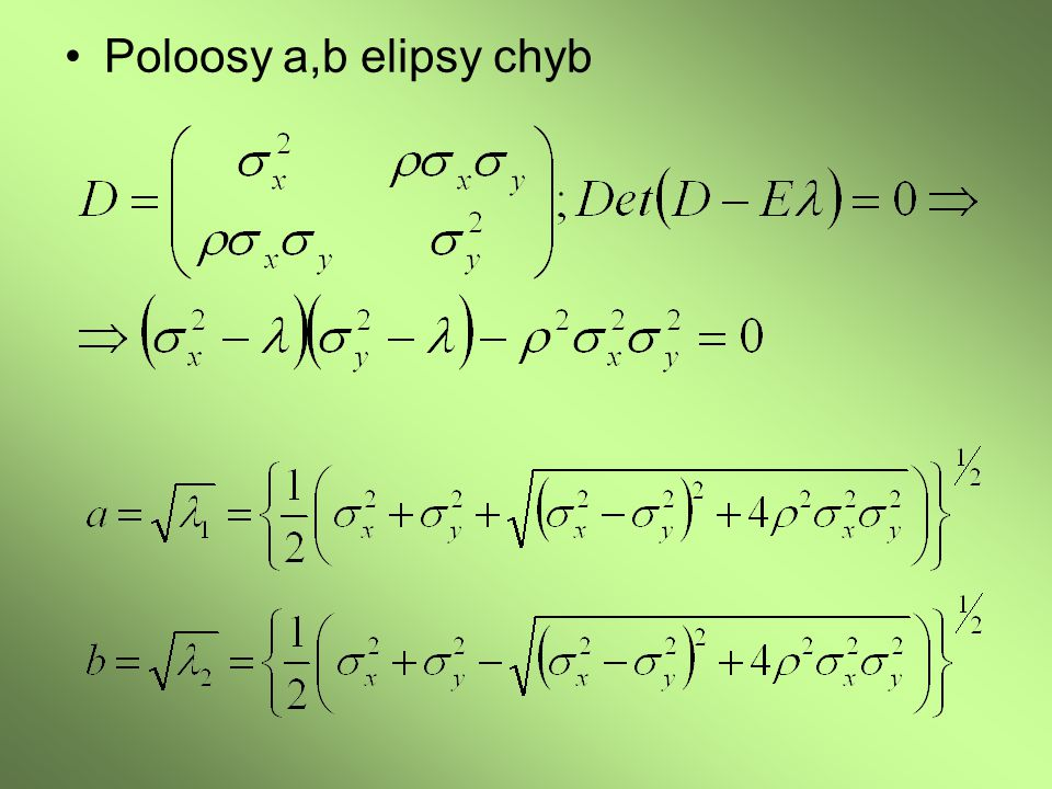 Poloosy a,b elipsy chyb