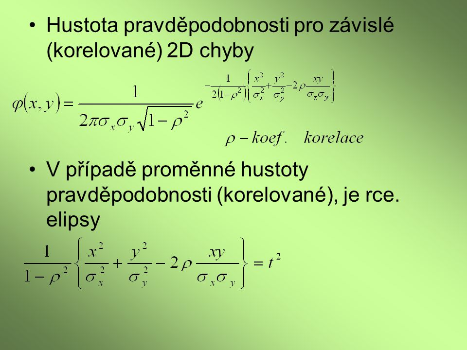 Hustota pravděpodobnosti pro závislé (korelované) 2D chyby