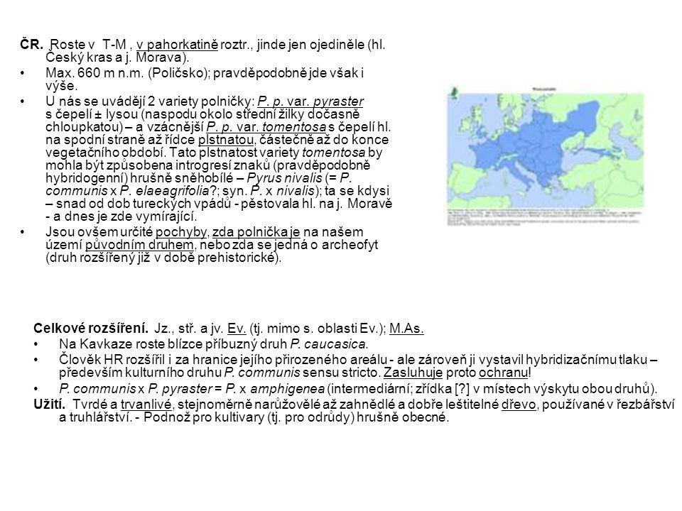 ČR. Roste v T-M , v pahorkatině roztr. , jinde jen ojediněle (hl