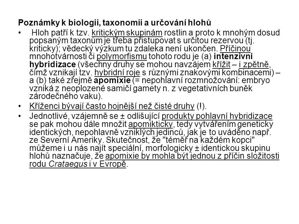 Poznámky k biologii, taxonomii a určování hlohů
