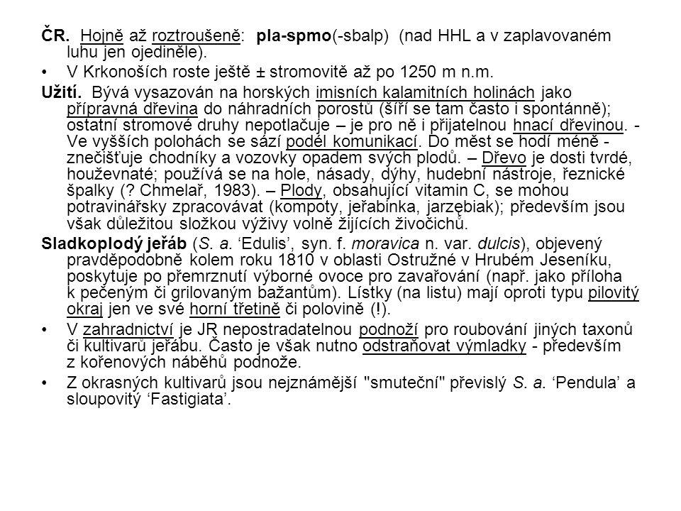ČR. Hojně až roztroušeně: pla-spmo(-sbalp) (nad HHL a v zaplavovaném luhu jen ojediněle).